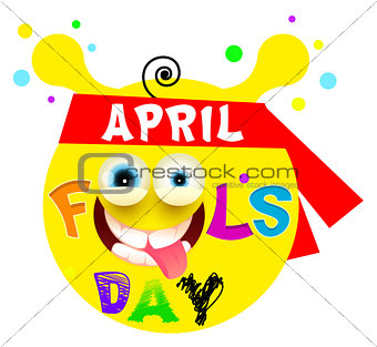 April Fools Day. Yellow funny smile