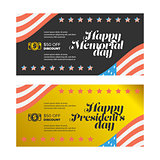 presidents and memorial day banner set