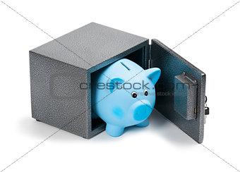 Blue ceramic piggy bank in a safe