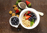 Breakfast cereals, granola with strawberries and blueberries