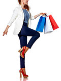 Woman with French flag colours shopping bags on white background
