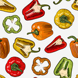 Seamless pattern with hand drawn sketch style peppers isolated on white background.