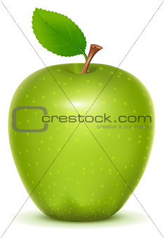 Green whole ripe apple on white background