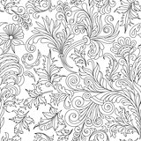 Decorative vintage flowers seamless pattern. Good for coloring book for adult and older children. Coloring page. Outline drawing. Vector illustration.