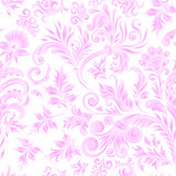 Doodle paisley seamless pattern. Gradient floral elements on white background. Gzhel. Watercolor imitation. Two colors print