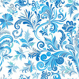 Vector floral seamless pattern with colorful fantasy plants and curls