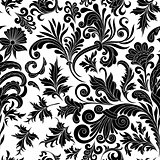 Vector illustration. Decorative design element filigree calligraphy. Retro seamless pattern antique style acanthus. Black on white vintage baroque ornament.