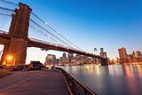 Brooklyn Bridge in New York at evening