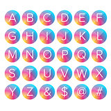 Alphabet letters colorful button