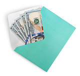 Dollar banknotes in envelope