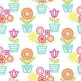 Colorful line flower pots seamless vector.