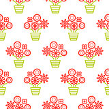 Outline red and green flowers in pots seamless pattern texture.