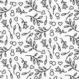 Black line floral 8 March seamless vector pattern.