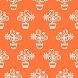 Coral orange and white line flower pots seamless vector.