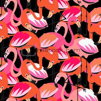 Flamingo dense red on black seamless pattern.