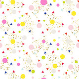 Confetti seamless glitter white vector background.