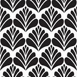 Abstract damask black petal seamless pattern.