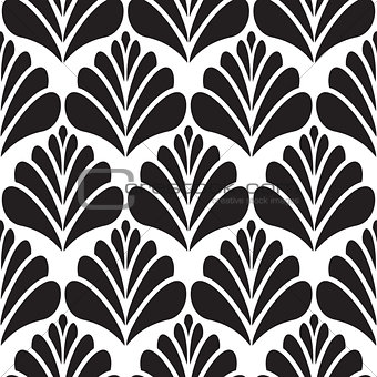 Abstract damask black petal seamless pattern.