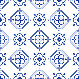 Blue and white portugeese mediterranean seamless tile pattern.