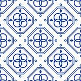Blue and white geometric mediterranean seamless tile pattern.