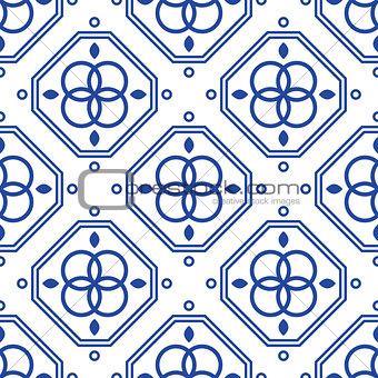Blue and white geometric mediterranean seamless tile pattern.
