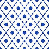 Geometric blue and white minimalistic pattern.