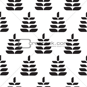 Abstract leaves black petal seamless pattern.