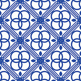 Blue and white mediterranean seamless tile pattern.