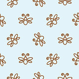 Butterfly outline blue seamless pattern.