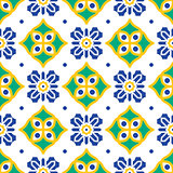 Blue and green mediterranean seamless tile pattern.