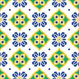 Blue and green mediterranean seamless tile pattern.