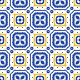 Blue and white mediterranean seamless ceramic tile pattern.