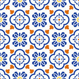 Ceramic blue and white mediterranean seamless tile pattern.