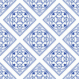 Portuguese blue and white mediterranean seamless tile pattern.