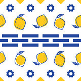 Blue and white lemon mediterranean seamless tile pattern.