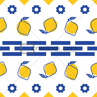 Blue and white lemon mediterranean seamless tile pattern.