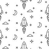Space rocket scandinavian line style seamless pattern.
