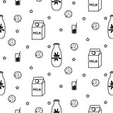 Milk and biscuit scandinavian seamless vector pattern.