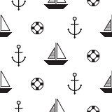 Sailboat seamless nautical vector pattern in scandinavian style.