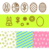 Easter outline egg vector icons.