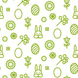 Happy Easter outline icon seamless vector pattern.