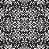 Mandala lace dense black seamless pattern.
