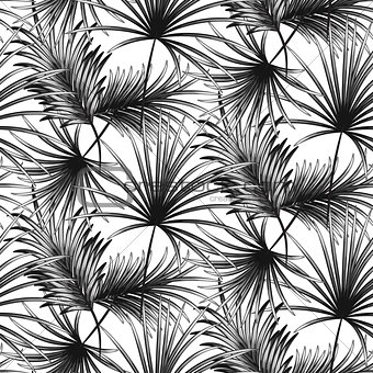Grayscale palm leaves seamless vector pattern.