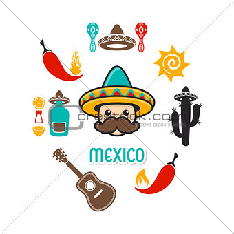 Card with mexico signs and icons