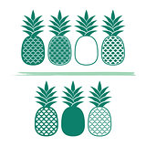 Creative pineapples vector illustrations