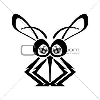 Black funny mosquito silhouette icon