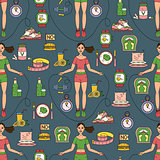 Sport seamless pattern. Weight Loss, Diet template.
