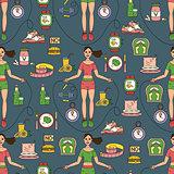 Sport seamless pattern. Weight Loss, Diet template.