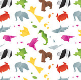 Animals origami pattern color