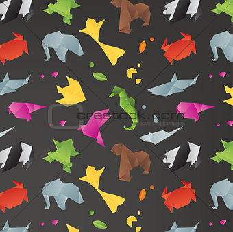 Animals origami pattern black